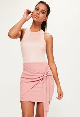 Mini-jupe nouée en jersey rose Tall