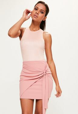Tall Pink Jersey Crep Tie Front Mini Skirt