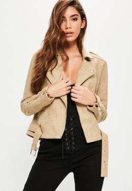 Tall Brown Faux Suede Raw Edge Jacket