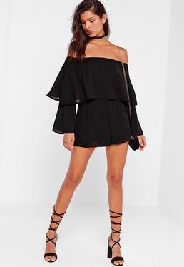 Czarny podwójny krótki kombinezon bardot dla wysokich kobiet