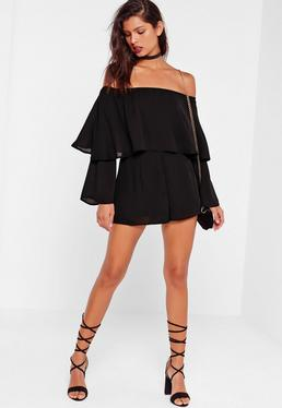 Tall Black Double Layer Bardot Romper