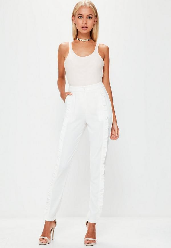 Tall White Front Ruffle Cigarette Trousers