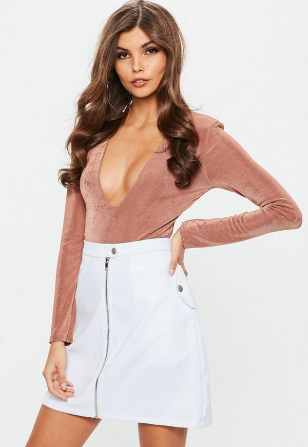 Tall White Zip Through Tab Detail Mini Skirt