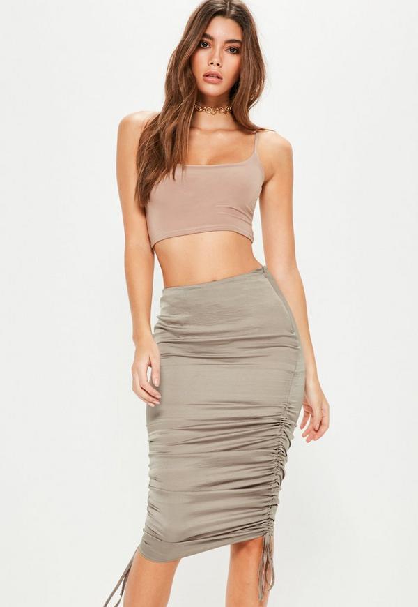 Tall Grey Satin Ruched Side Midi Skirt