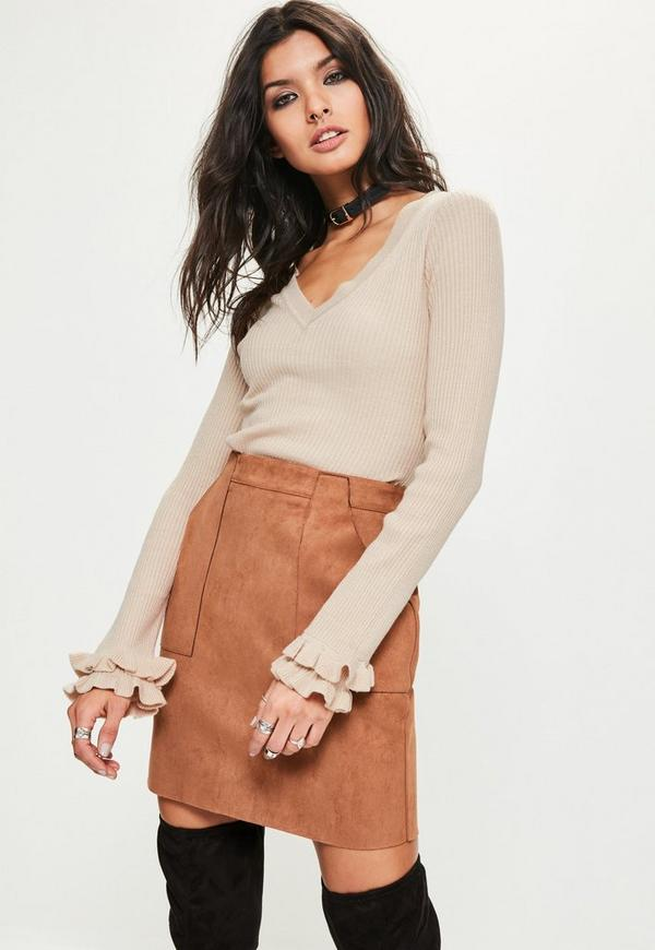 Tall Beige Frill Sleeve V Neck Ribbed Jumper