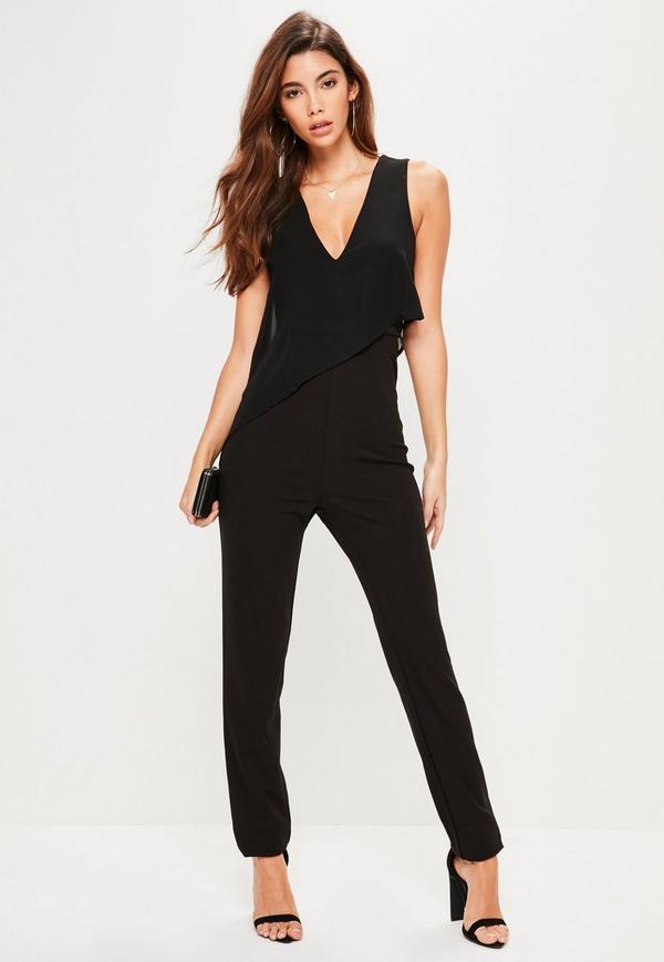 Tall Black Asymmetric Double Layer Plunge Jumpsuit
