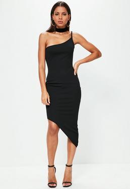 Czarna asymetryczna sukienka exclusive na jednym ramiączku dla wysokich kobiet