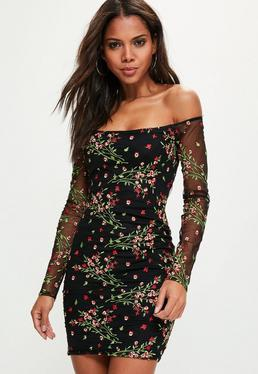 Tall Exclusive Black Embroidered Mesh Bardot Dress