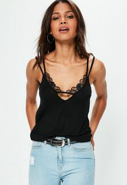 Tall Exclusive Black Lace Insert Jersey Cami Top
