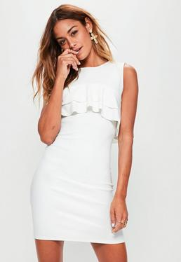 Tall White Sleeveless Frill Bodycon Dress