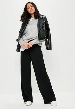 Tall Black Jersey Casual Wide Leg Trousers