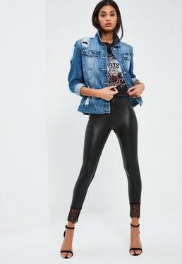 Legging noir en simili cuir avec bordure en dentelle