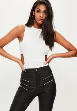 Tall White Side Tab Bodysuit
