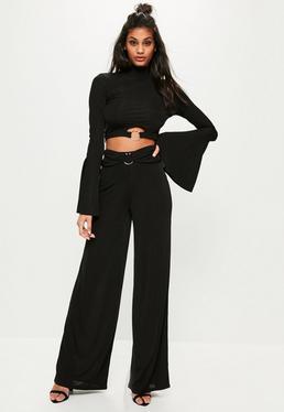 Czarne prążkowane ekskluzywne spodnie z szerokimi nogawkami dla wysokich kobiet