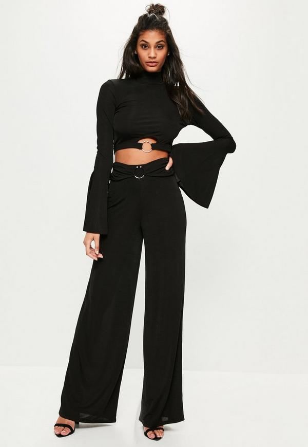 Tall Black Ribbed Wide Leg Trousers