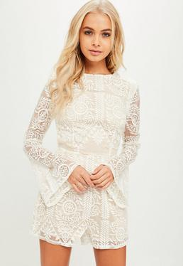 Tall White Embroidered Romper