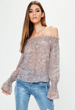 Tall Exclusive Purple Dragon Printed Bardot Top