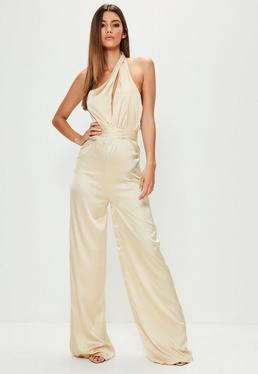 Tall Exclusive Nude Satin Halter Neck Cut Out Jumpsuit