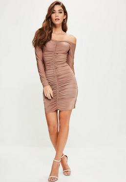 Tall Pink Slinky Ruched Front Bardot Midi Dress