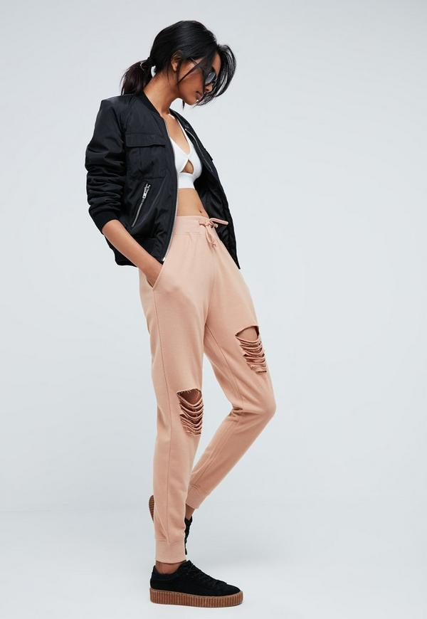 Tall Pink Ripped Front Joggers
