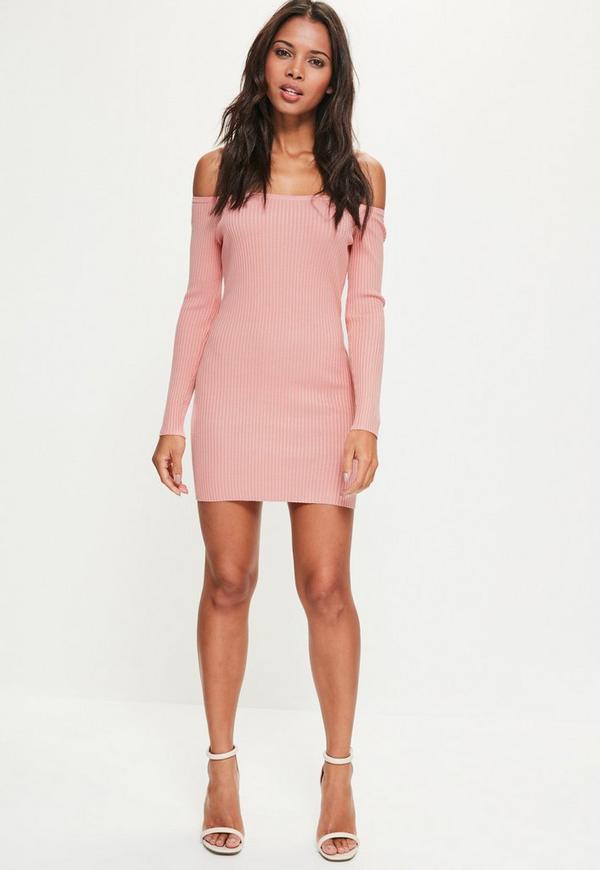 Tall Pink Ribbed Off Shoulder Mini Sweater Dress | Missguided