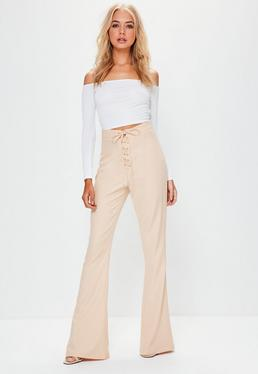 Tall Nude Lace Up Flare Trousers