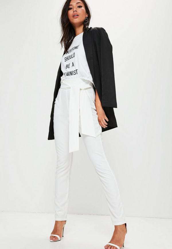 Tall White Tie Waist Cigarette Trouser