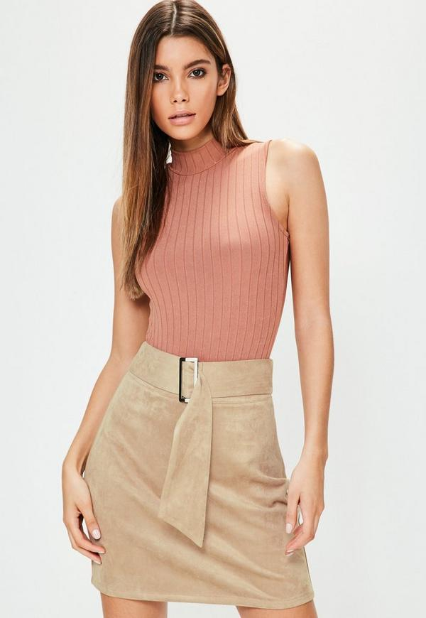 Tall Nude Faux Suede Buckle Detail Mini Skirt