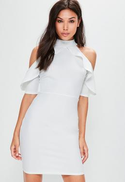 Tall White Frill Cold Shoulder Dress