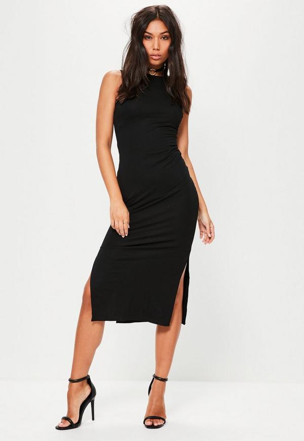Tall Black Sleeveless Side Split Dress