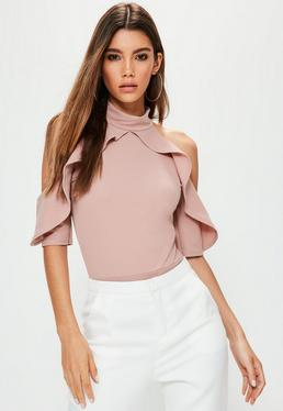 Tall Nude Frill Cold Shoulder Bodysuit