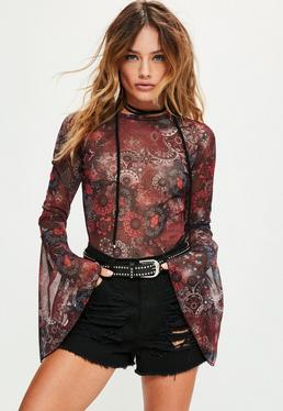Tall Exclusive Red Printed Mesh Flare Sleeve Bodysuit