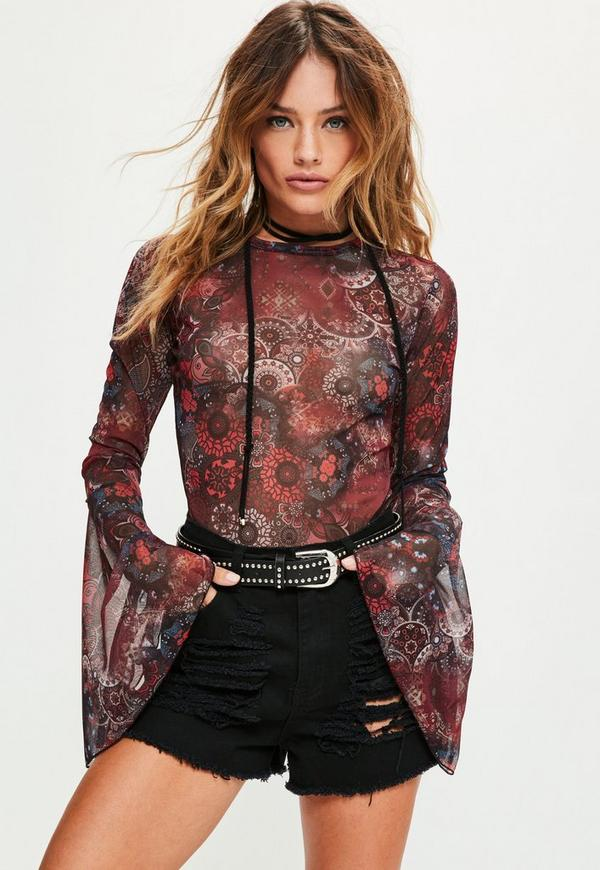 Tall Red Printed Mesh Flare Sleeve Bodysuit