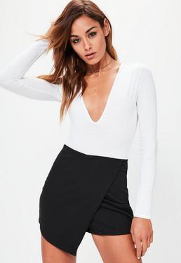Czarne spódnico-spodenki z krepy dla wysokich kobiet