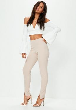 Beżowe dopasowane spodnie exclusive dla wysokich kobiet