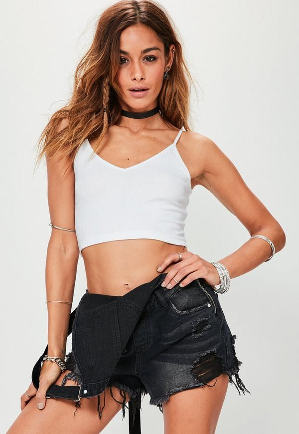 Tall White Ribbed Cami Crop Top