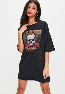 Tall Schwarzes Grafik T-Shirt Kleid