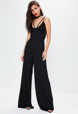 Czarny kombinezon z szerokimi nogawkami i paskami na dekolcie exclusive dla wysokich kobiet