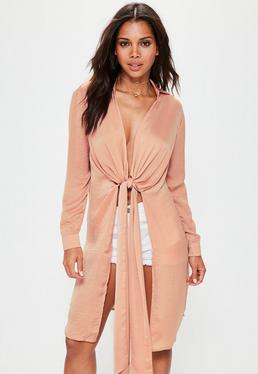 Tall Satin Langshirt mit Knoten in Nude