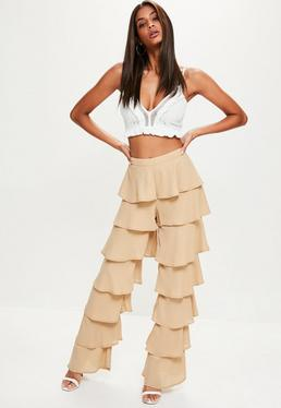 Tall Nude Layered Frill Trousers