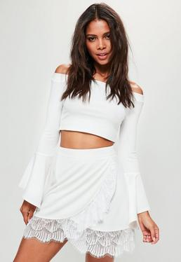 Tall White Lace Trim Wrap Mini Skirt