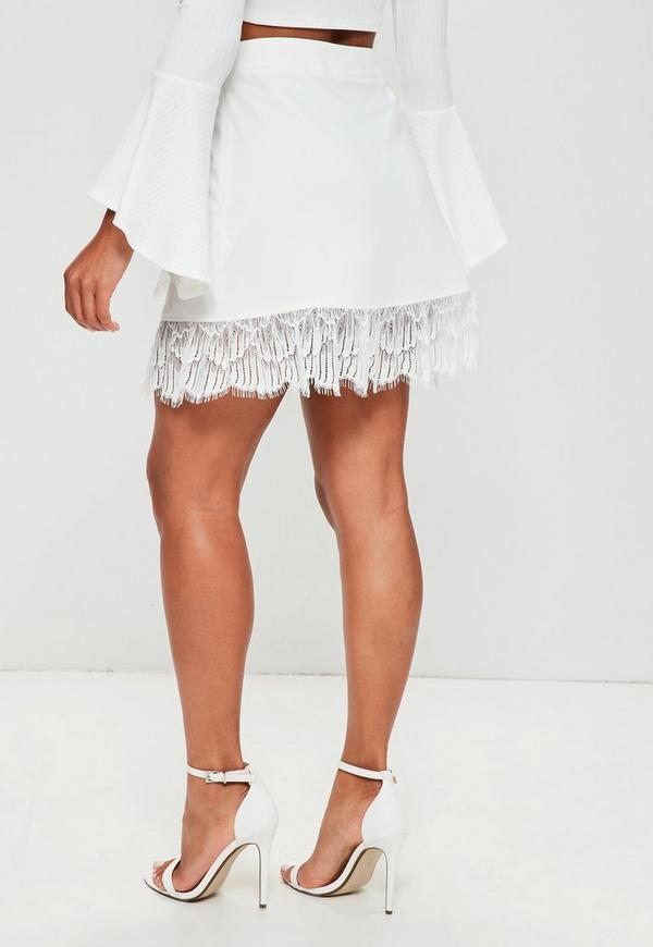 Tall White Lace Trim Wrap Mini Skirt | Missguided