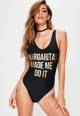 Tall Black Margaritas Made Me Do It Slogan Swimsuit