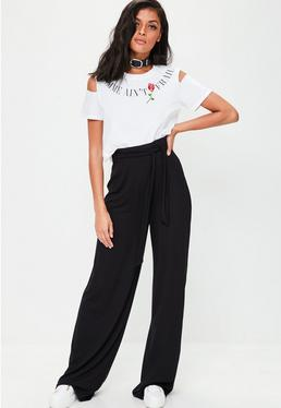 Tall Black Casual Wide Leg Trousers