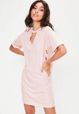 Różowa owersajzowa sukienka T-Shirt z dziurami dla wysokich kobiet