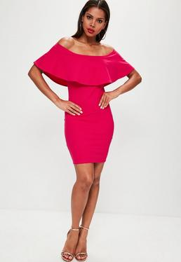 Tall Exclusive Pink Frill Bardot Dress