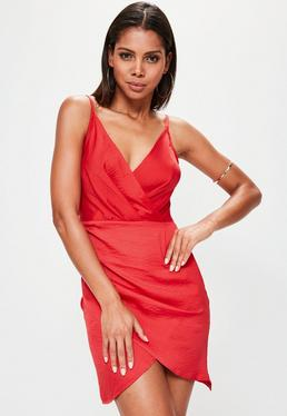 Tall Red Satin Cami Wrap Dress