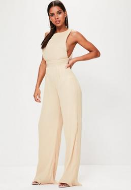 Tall Nude Pleated Drop Armhole Jumpsuit