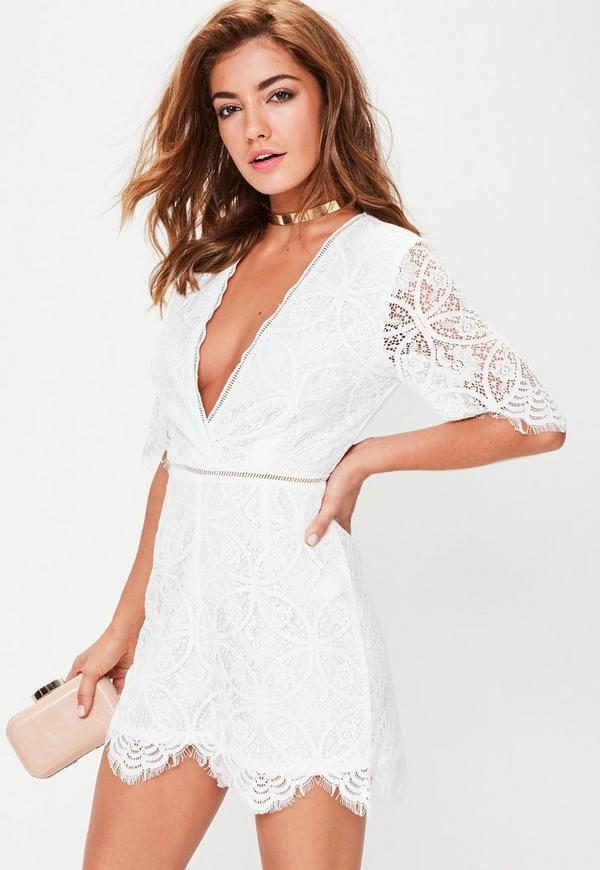 Tall White Lace Plunge Trim Playsuit
