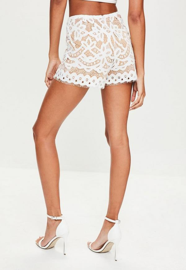 Tall White High Waisted Lace Shorts | Missguided